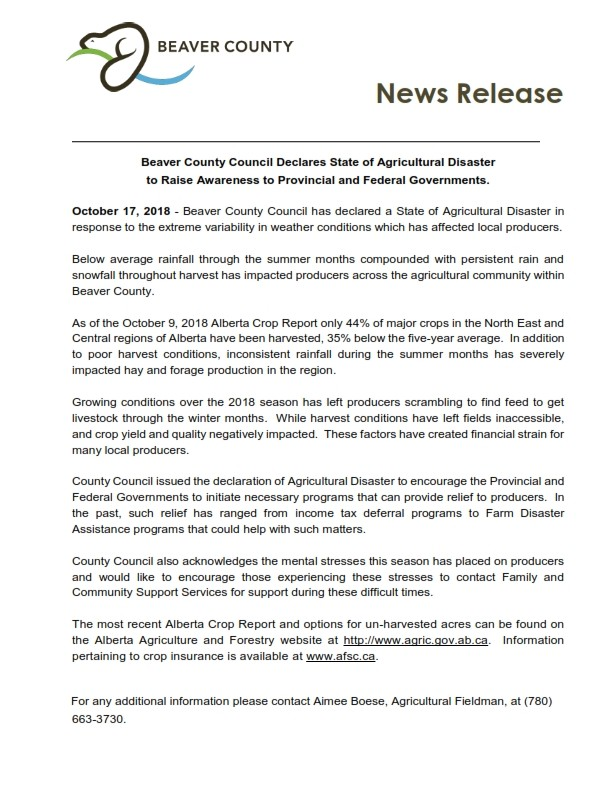 Beaver County Council Declares State of Agricultural