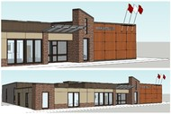 Exterior design images of the County Office. The construction project has been awarded to Reed Atwood Builders for the tendered price of $1,739,000. A total of $2 million has been budgeted for the project to cover hazmat and contingency costs. The renovat