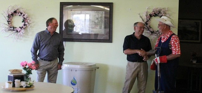 Left to right Beaver Foundation CAO Owen Ligard, Beaver County Reeve – Jim Kallal, Sunshine Villa resident Roy Ellingson