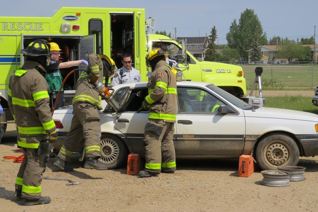 The Traffic Safety Committee organized a mock collision for Ryley School Students.